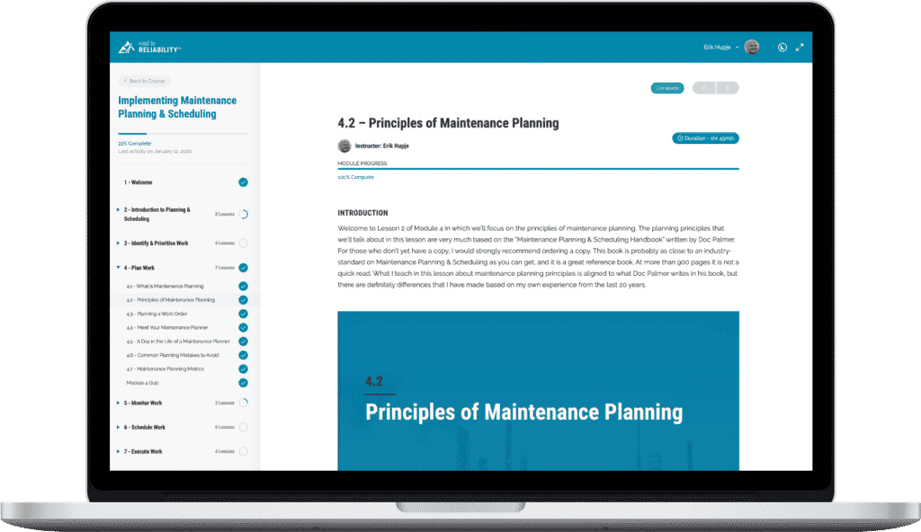 Maintenance Planning & Scheduling Online Course