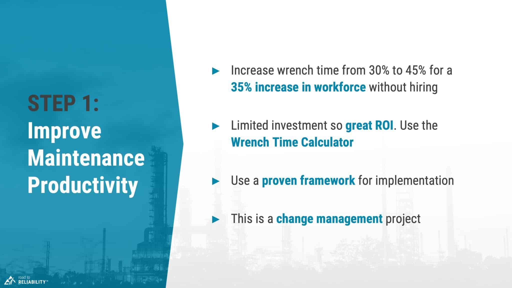 reduce maintenance costs step 1 improve maintenance productivity